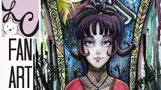 Beetlejuice and Lydia Deetz Fan Art (Winsor And Newton Watercolor Illustration)
