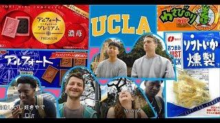 ロスの大学で学生が日本のお菓子を食べてみたin UCLA Foreign people trying Jpanese sweets at UCLA