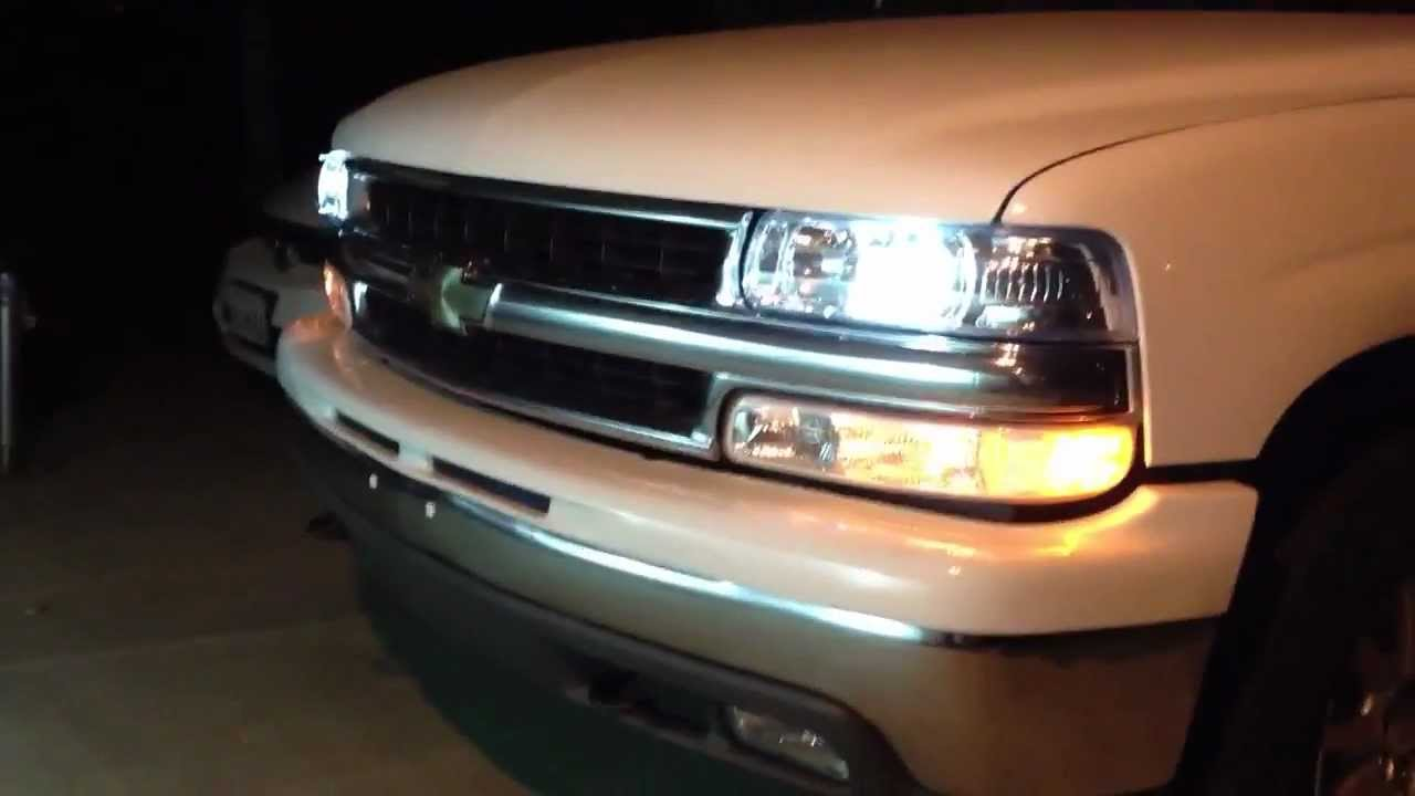 Tahoe suburban 2000 2006 depo headlights with hid lights from outside youtube