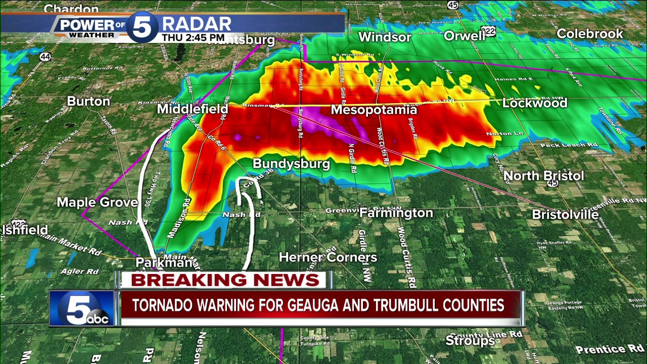 Tornado warning issued for Trumbull County