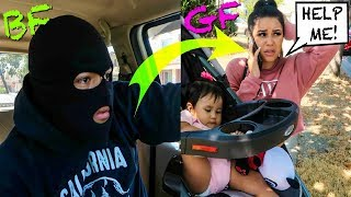 I Followed My GIRLFRIEND & BABY DISGUISED As A ROBBER!! **COPS ACTUALLY SHOWED UP!!**