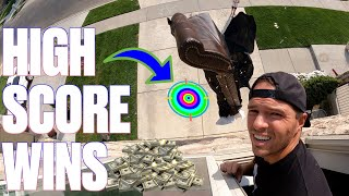 COUCH VS CONCRETE BOARD GAME | THROWING OUR COUCH OUT THE BONUS ROOM WINDOW | HIGHEST SCORE WINS