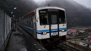 キハ120形 雪降る宇都井駅 発車