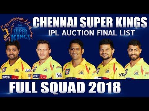 IPL 2018 ● Chennai Super Kings Full Squad ● CSK Returns ● Full Team Players List ● Dhoni Captain
