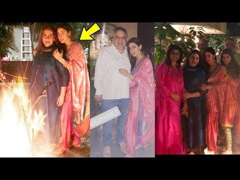 Sara Ali Khan  look pretty celebrating Lohri with Mom AMRITA SINGH and her Dad in punjabi suit Mp3