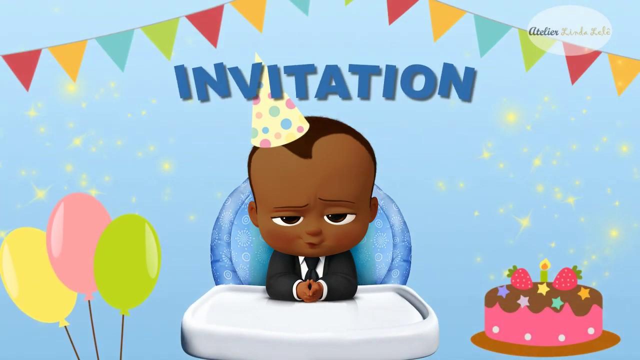 African American Boss Baby Invitation