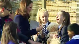 Pregnant Duchess Kate Middleton Honors Excited Therapy Puppy thumbnail