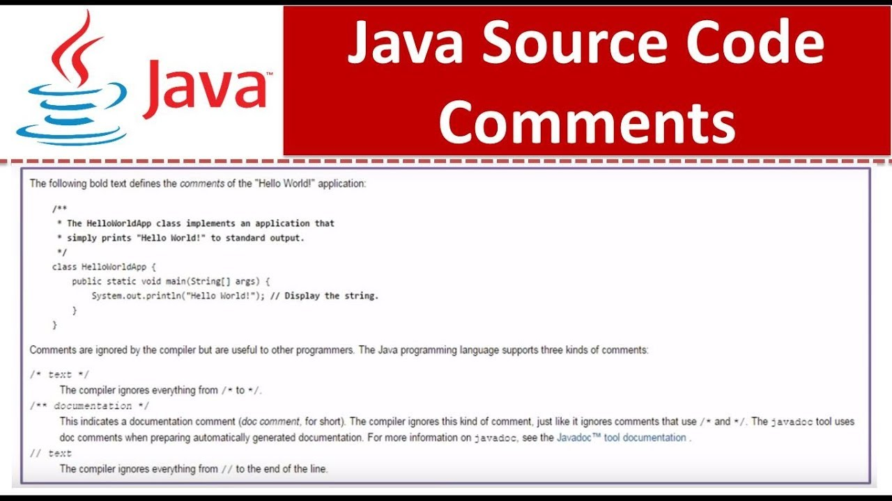 Java tutorial java source code comments youtube java tutorial java source code comments baditri Image collections