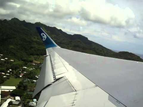 Air New Zealand Boeing 767-300ER Takeoff from Rarotonga International Airport