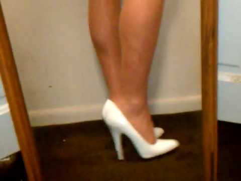Sexy Legs White 5 Inch Heels Stiletto Shoes