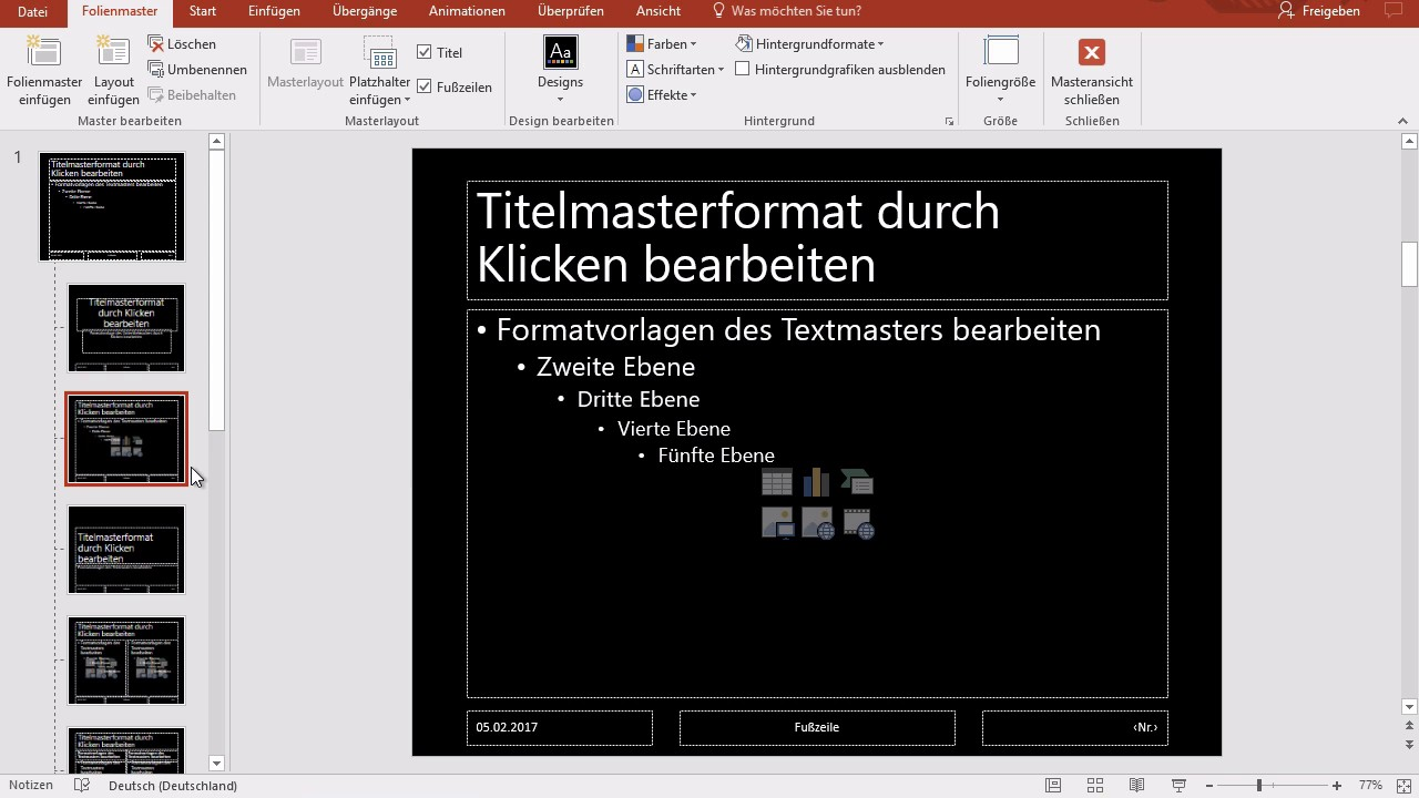 Powerpoint 2016 Windows: 61 Folienmaster, Vorlage - YouTube