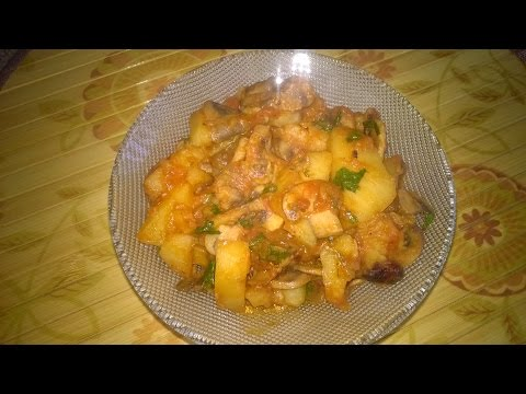 Тушёный картофель с грибами в мультиварке