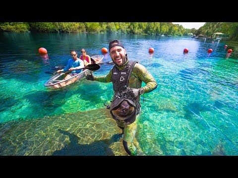 Searching For Treasure In Popular Rainbow Lagoon!! (secret passage)