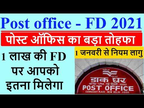 Post Office Fix Deposit Scheme, 1 लाख की FD जमा करने पर कितना मिलेगा, Post Office FD Rate 2021 Hindi