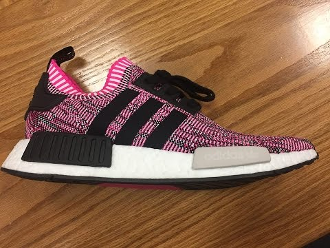 1f58931256492 Women s Adidas NMD R1 PK Primeknit Shock Pink Black BB2363 - YouTube