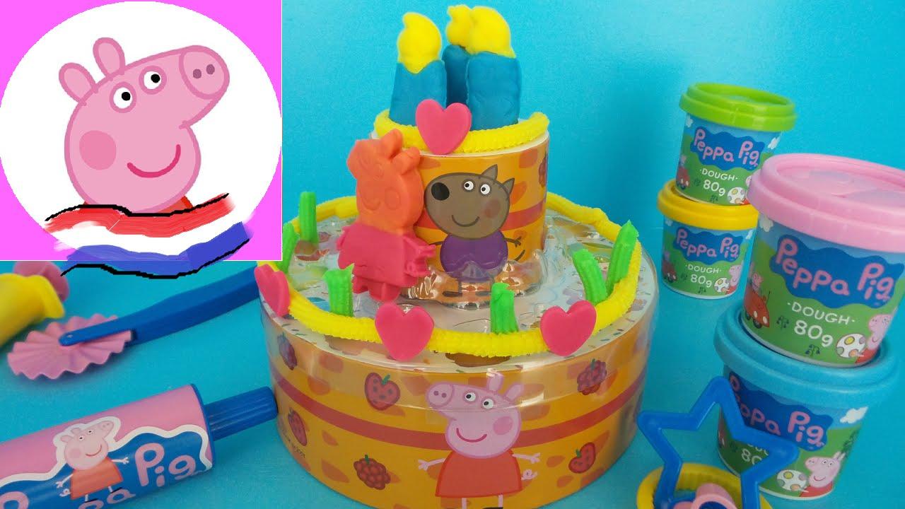 play doh taart PEPPA PIG VERJAARDAGSTAART PLAY DOH MAKEN   PLAY DOH PEPPA PIG  play doh taart