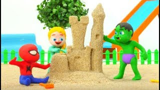 Superhelden-Babys Spielen mit Sand Superhelden-Play-Doh Cartoons Stop-Motion-Animationen