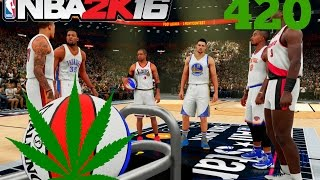 NBA 2K16: Weed Smokin' Three Point Contest! KD, Iverson, Klay, JR Smith, Beasley, Cliff! #420 #PS4
