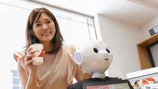 Robot Pepper starts to work serving coffee at SoftBank