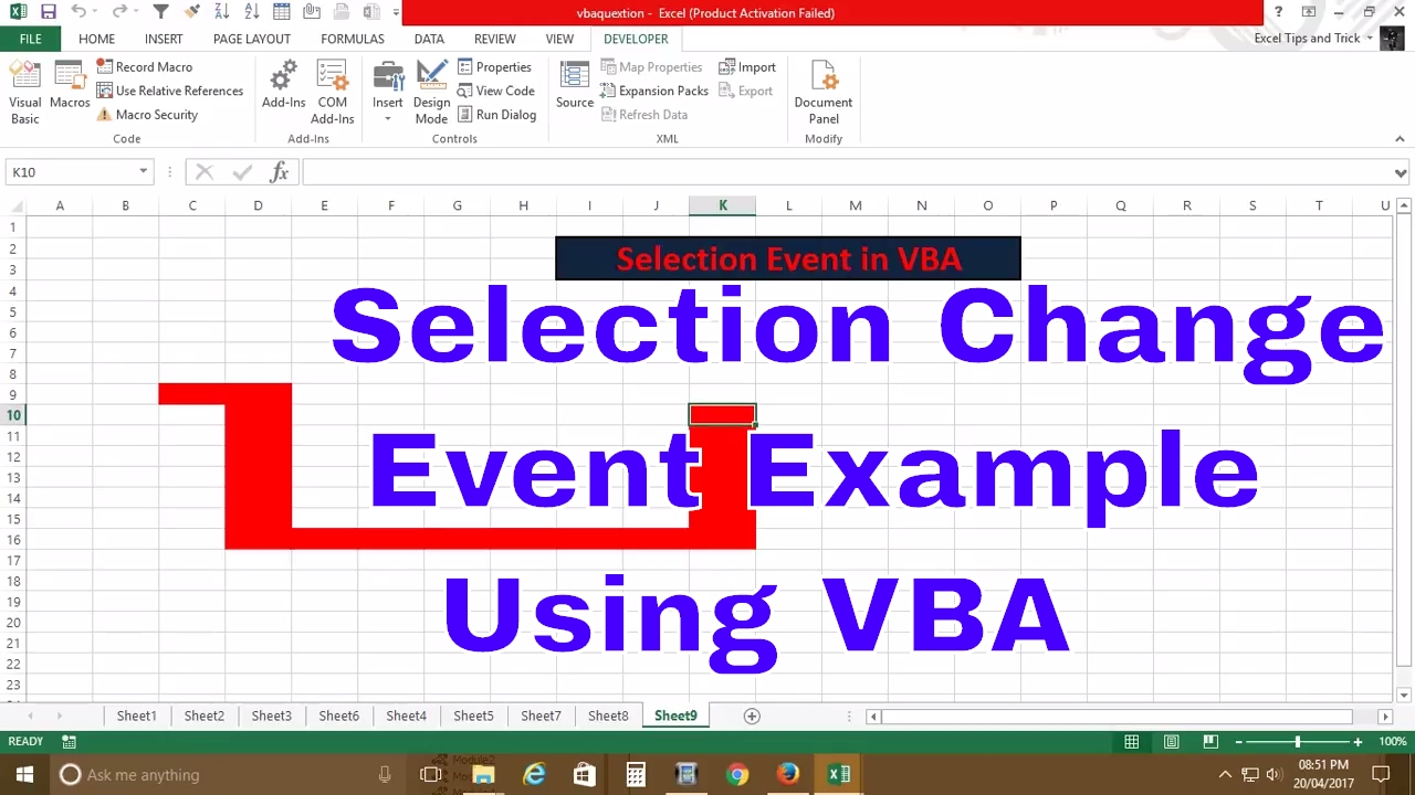 VBA Event ( Selection change Example) - YouTube