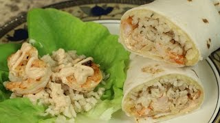 Shrimp Burrito With Cilantro Lime Rice & Honey Chipotle Lime Sauce by Rockin Robin