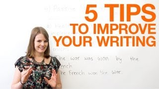 5 tips to improve your writing(http://www.engvid.com/ Want to become a better writer? In this video, I will share five easy and quick tips that will improve writing in formal and academic settings ..., 2013-01-30T18:08:32.000Z)