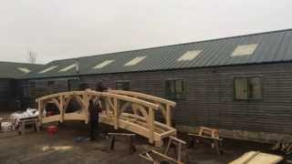 Watch a timelapse video of Jean and Thorsten piecing together a wooden garden bridge in our Devon yard. Commissioned by