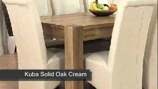 Kuba Solid Oak Dining Table & Leather Chairs