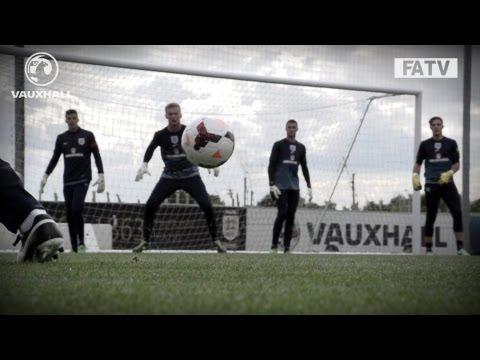 ULTRA SLOMO:CAM SAVES: England Under-21s in training