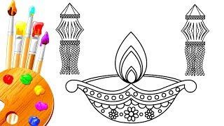How to Draw Colorful Diya & Akasha Kandeel for Kids | Diwali Festival Special |  Rangoli Design