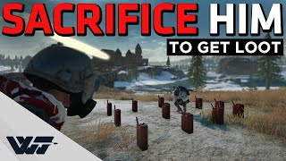 GOD MODE - Sacrifice the teammate to get loot, will they do it? - PUBG