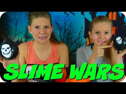SLIME WARS HALLOWEEN BALLOON SLIME CHALLENGE || MAKING SLIME WITH BALLOONS || Taylor and Vanessa