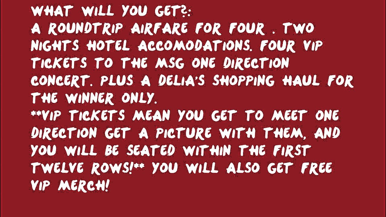Win one direction 4 vip tickets youtube win one direction 4 vip tickets m4hsunfo