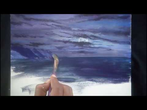 Oil painting techniques step by step | for beginners | moon light,sea and landscape painting art