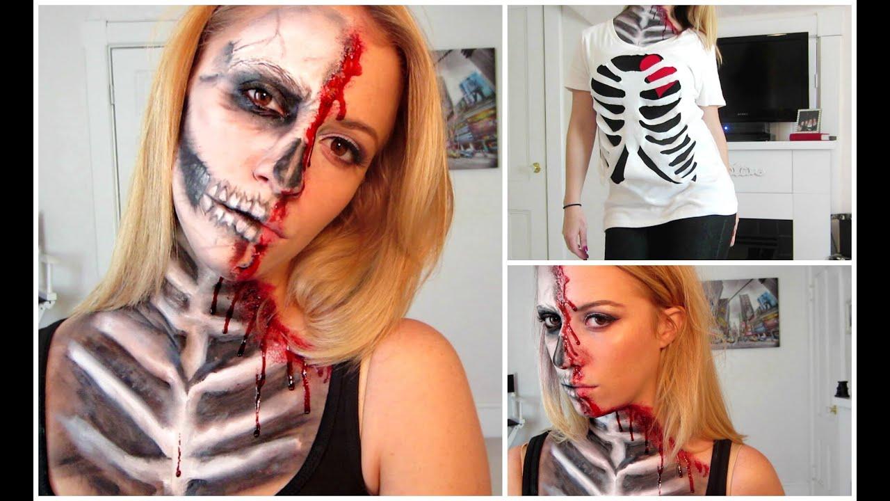 Half Skull Halloween Mask Make Up Tutorial! - YouTube