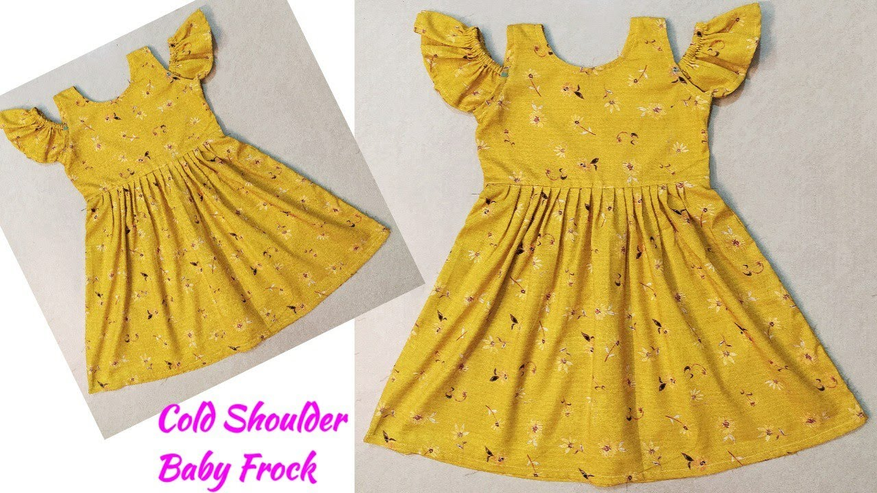 Baby Frock Cutting and Stitching Cold Shoulder Baby Frock Cutting and Stitching Baby Frock Designs