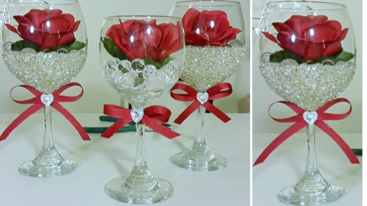 Dollar tree wine glass rose decor 2018 inexpensive diy for Wine glass decorations for weddings