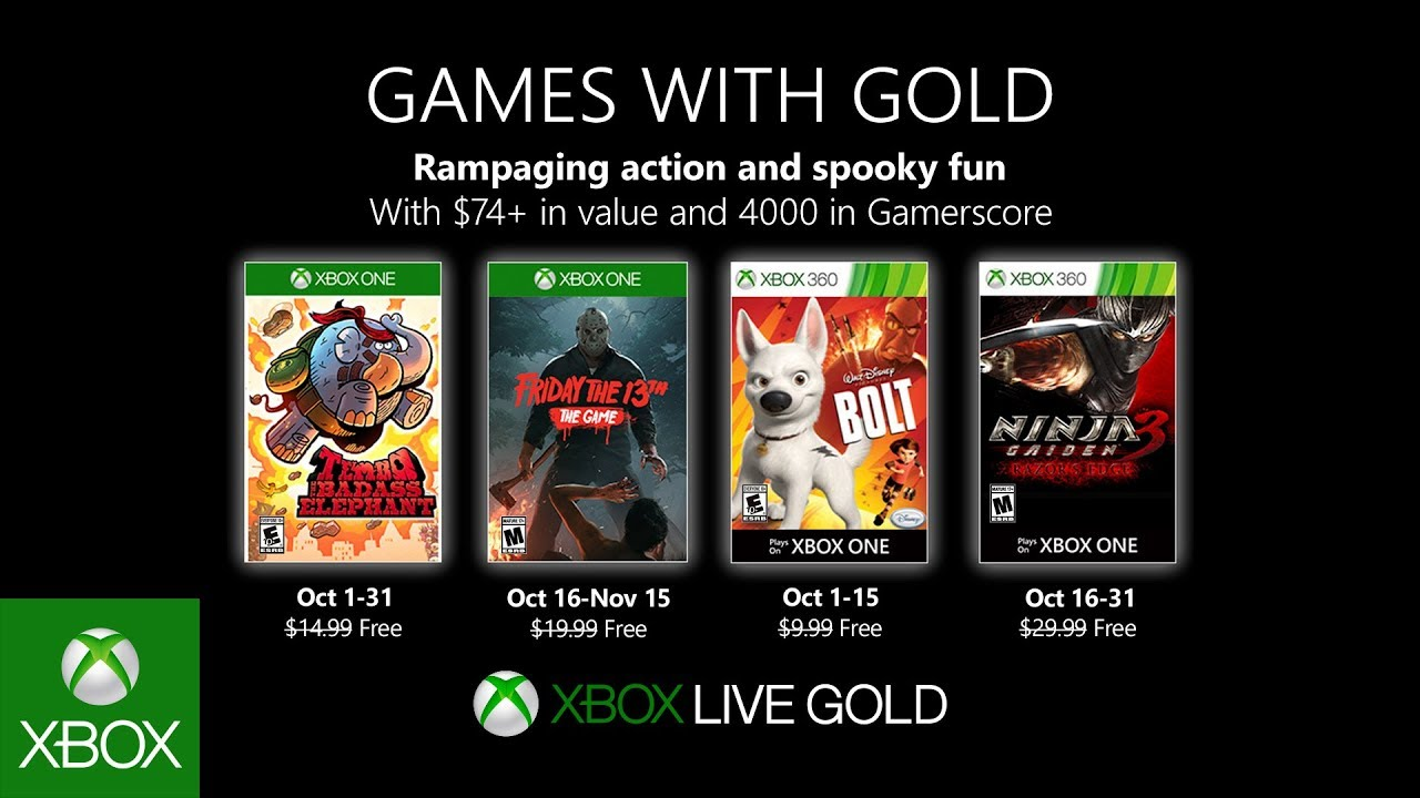 Games with Gold October free games