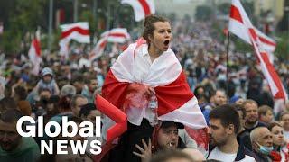 Belarus protests: Demonstrators march in Minsk despite government warning