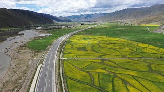Breathtaking view of scenic highway in Tibet, China