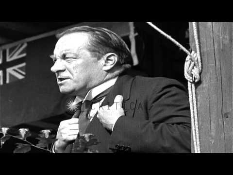 British Prime Minister Stanley Baldwin gives a speech in the United Kingdom. HD Stock Footage