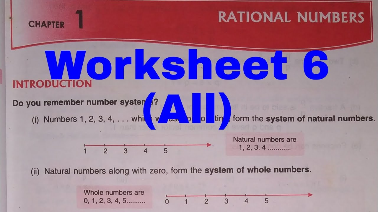 D.A.V    Worksheet 6    All    Class 7    Rational Number - YouTube [ 720 x 1280 Pixel ]
