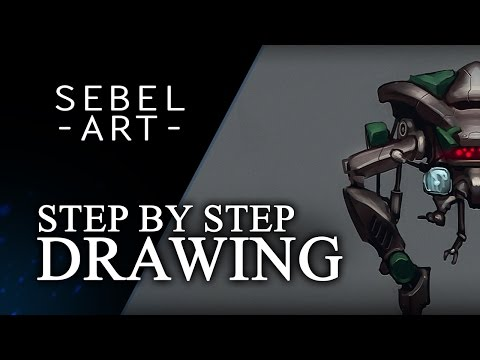 Creating robot concepts in Paintstorm Studio using symmetry + Photoshop post process
