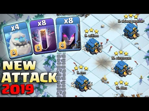 4 Ice Golem + 8 Bat Spell + 15 Bowler + 8 Witch + 14 Giant = New Attack 2019 Th12  War 3Star  Attack