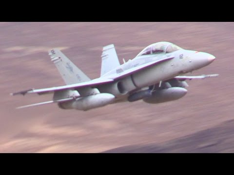 Military Aircraft in Death Valley Canyon !!!