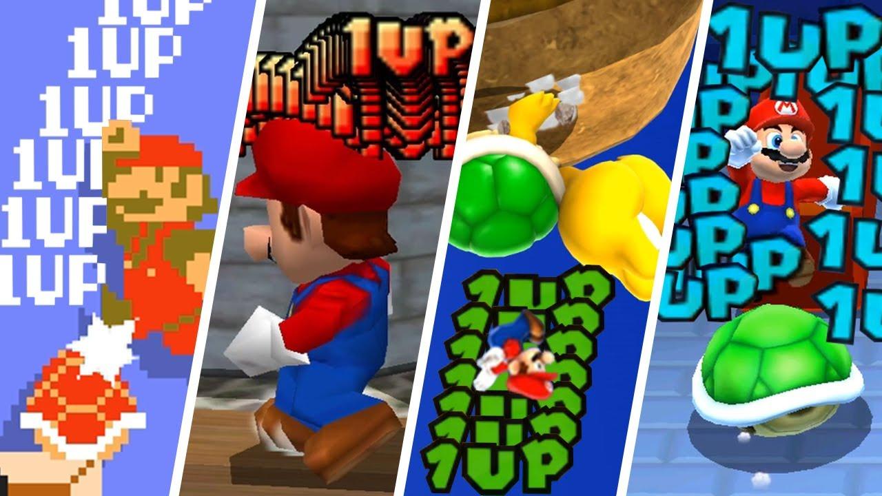 Evolution of Infinite 1-UP Tricks in Super Mario Games (1985-2021)