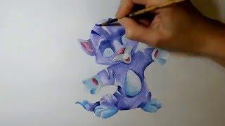 Синий Котик, котенок, котеночек. Фиолетовый Луно - Кот. Рисуем карандашом и раскрашиваем гуашью.