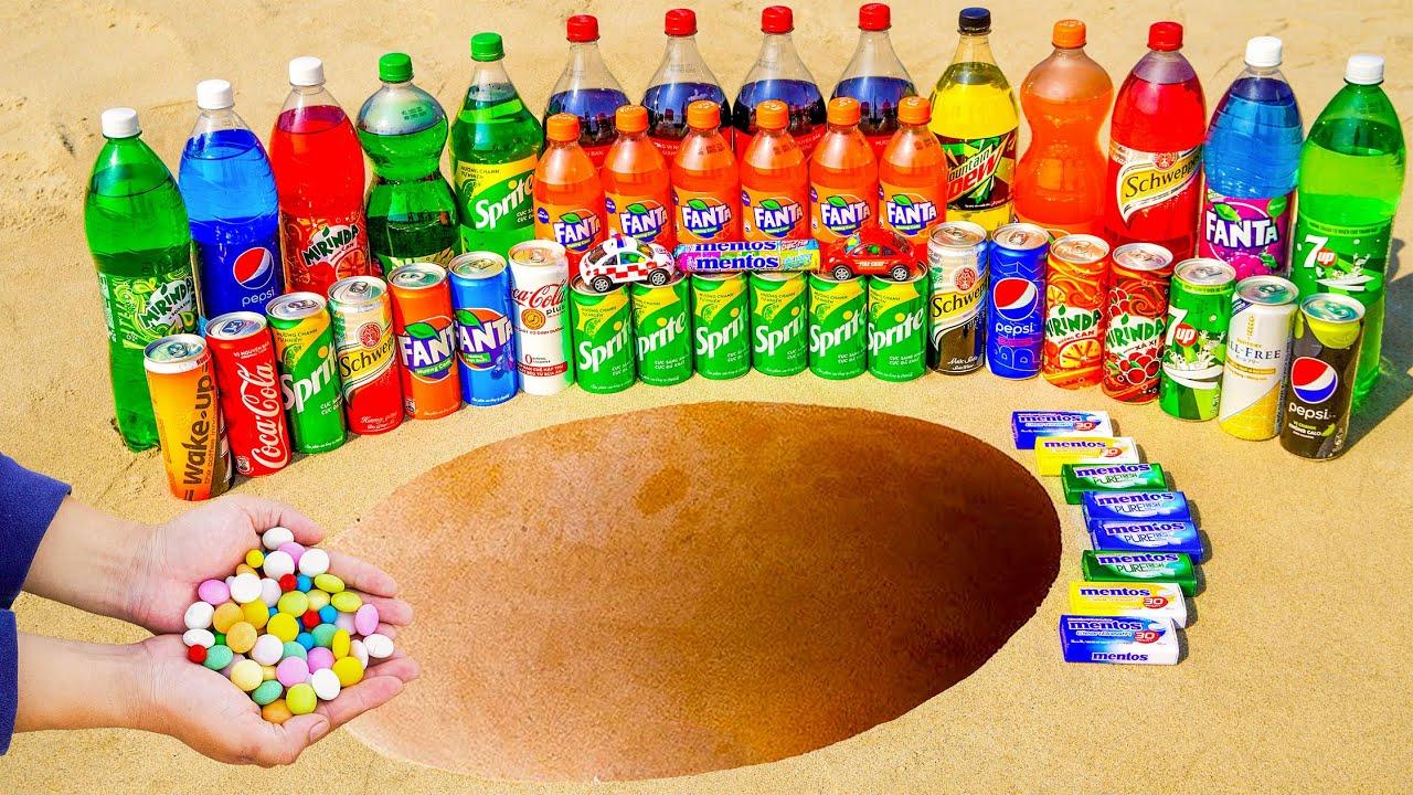 Mentos vs Fanta, Coca Cola, Sprite, 7up, Schweppes, Mtn Dew, Pepsi and Mirinda in pit underground