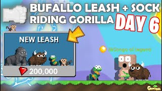PAW DAY 6 | Getting BUFALLO LEASH + PET SOCK + RIDING GORILLA! (NEW LEASH) OMG!! | GrowTopia