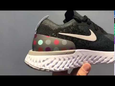 4ef3f6339171d Nike Epic React Flyknit iD Black And Grey Dots Running Shoes AJ7283 ...